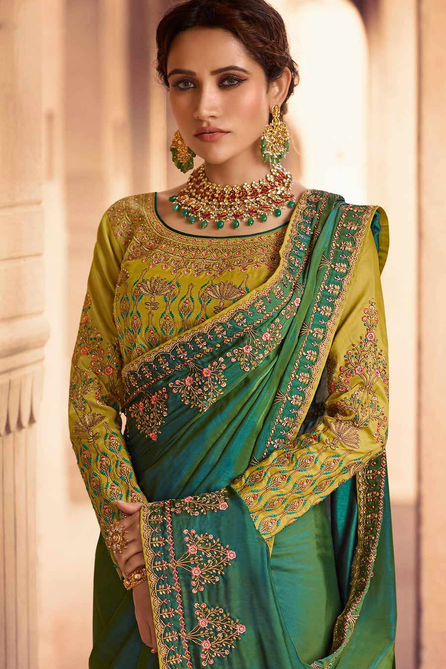 Pear and Olive Green Designer Silk Sari