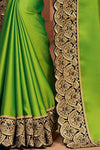 Lime Green and Midnight Blue Embroidered Designer heavy Silk Saree