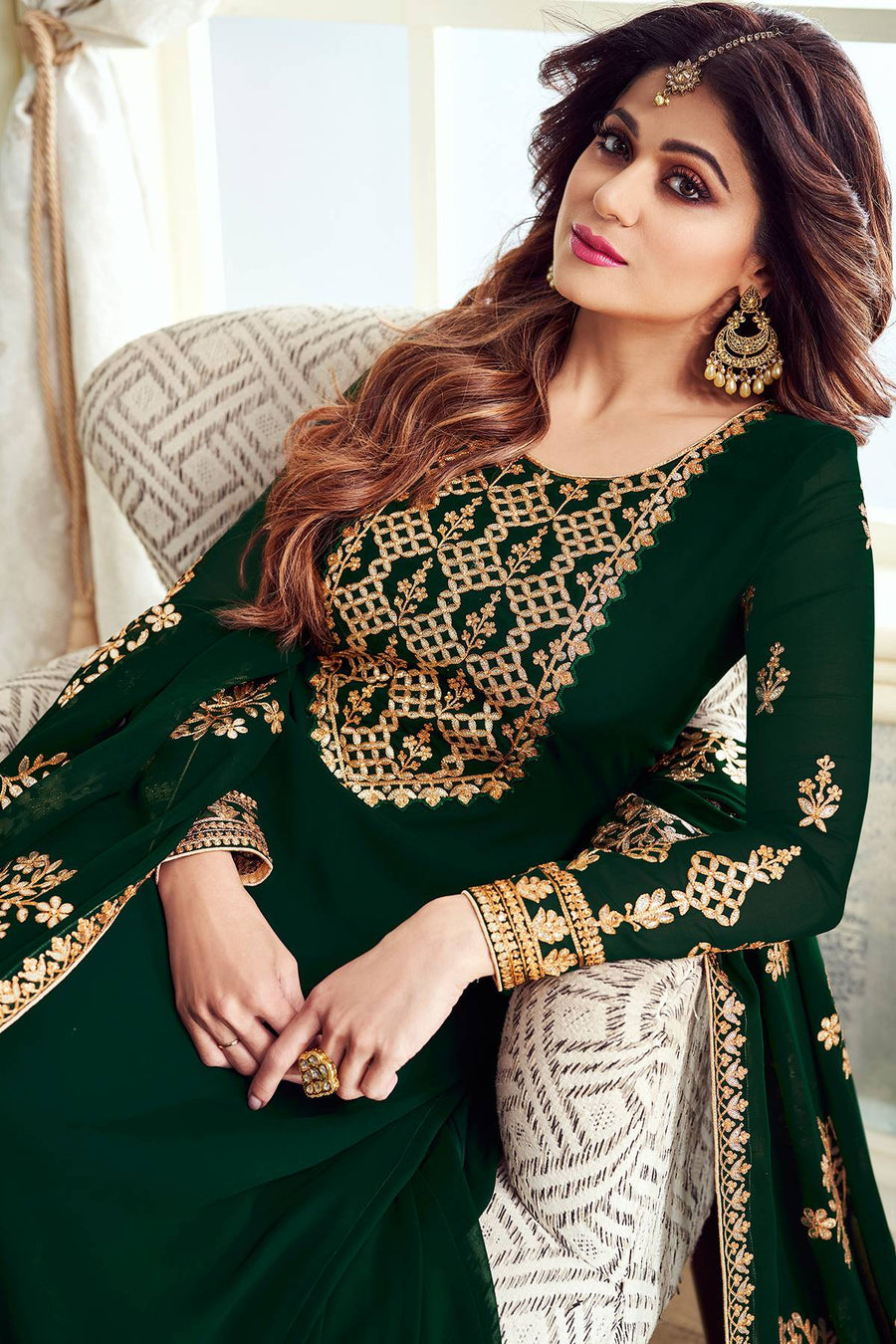 Pine Green Designer Party Wear Sharara Suit