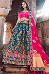 Pink And Blue Wedding Lehenga Choli Set