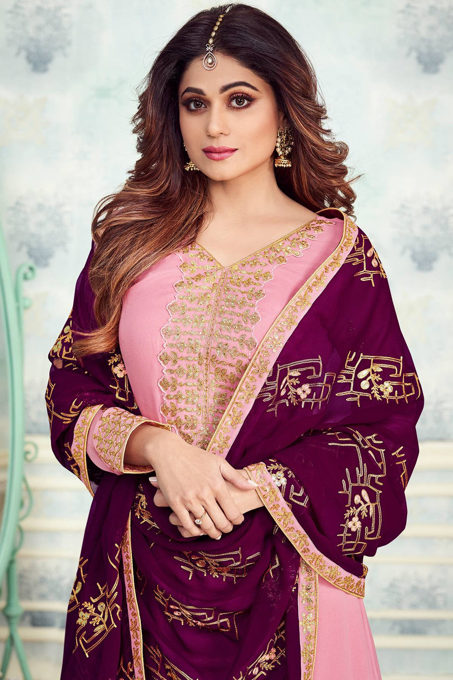 Pink Designer Party Wear Sharara Suit