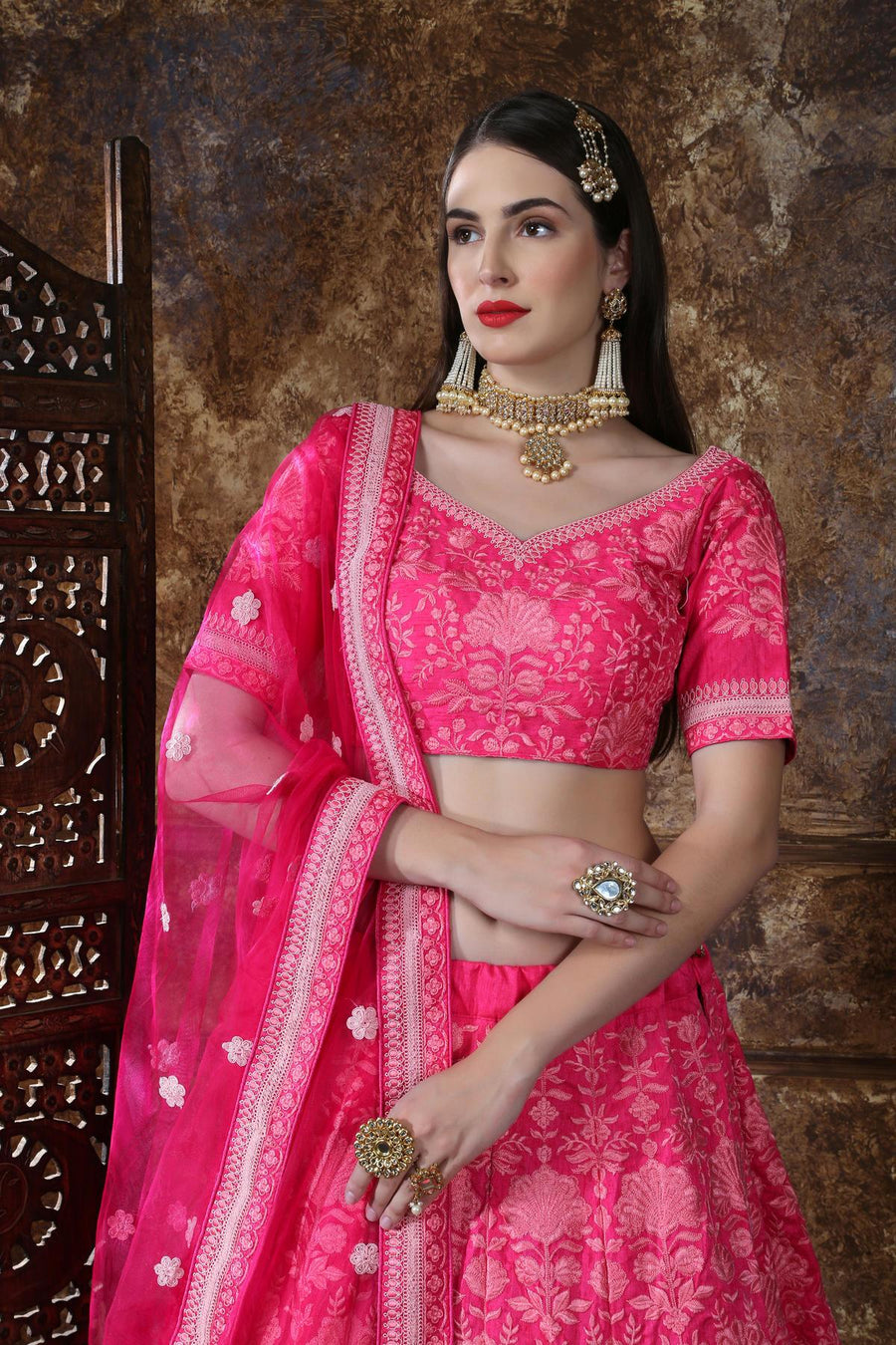Pink Silk Bridesmaid Lehenga Choli