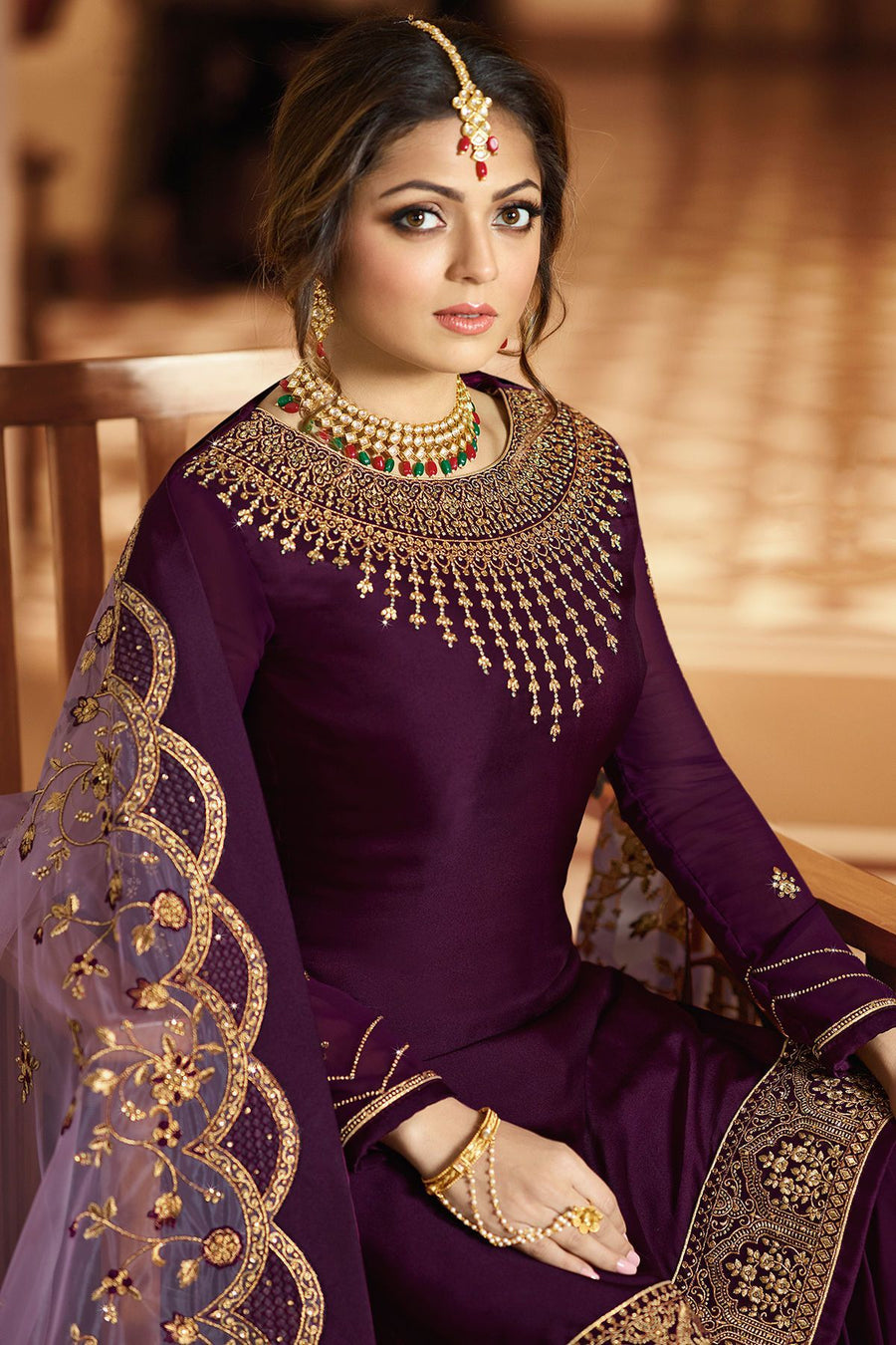 Plum Embroidered Party Wear Sharara Suit