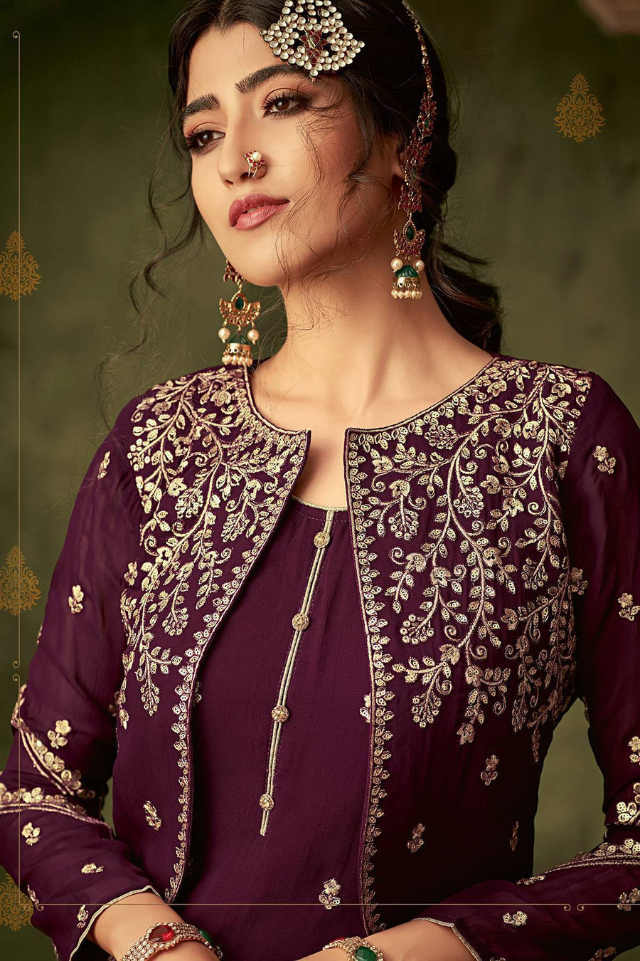Plum Purple Designer Sharara Suit With Koti