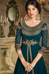 Prussian Blue Party Wear Slit Cut Anarkali Suit