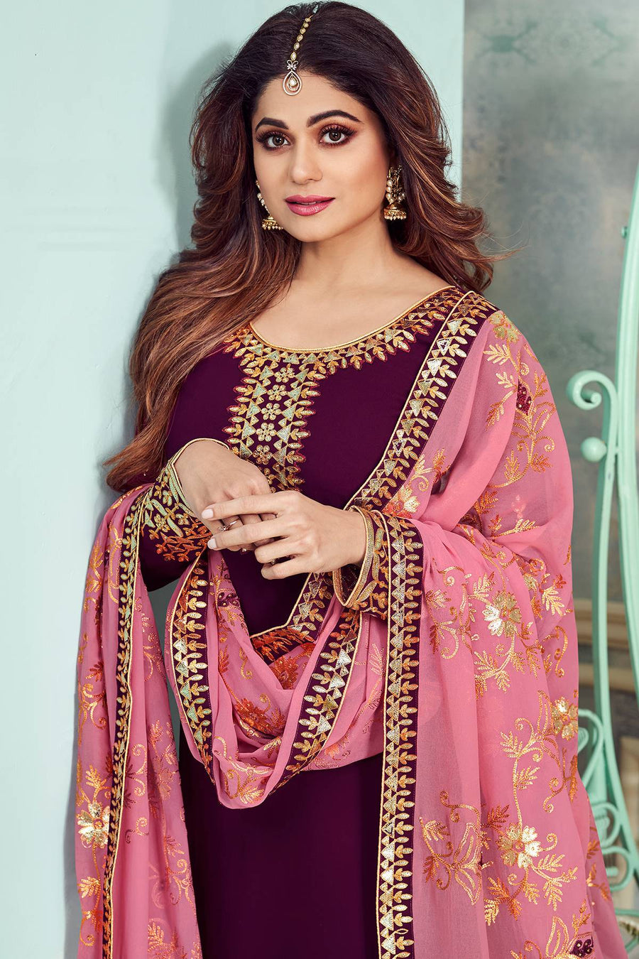 Purple Designer Party Wear Sharara Suit