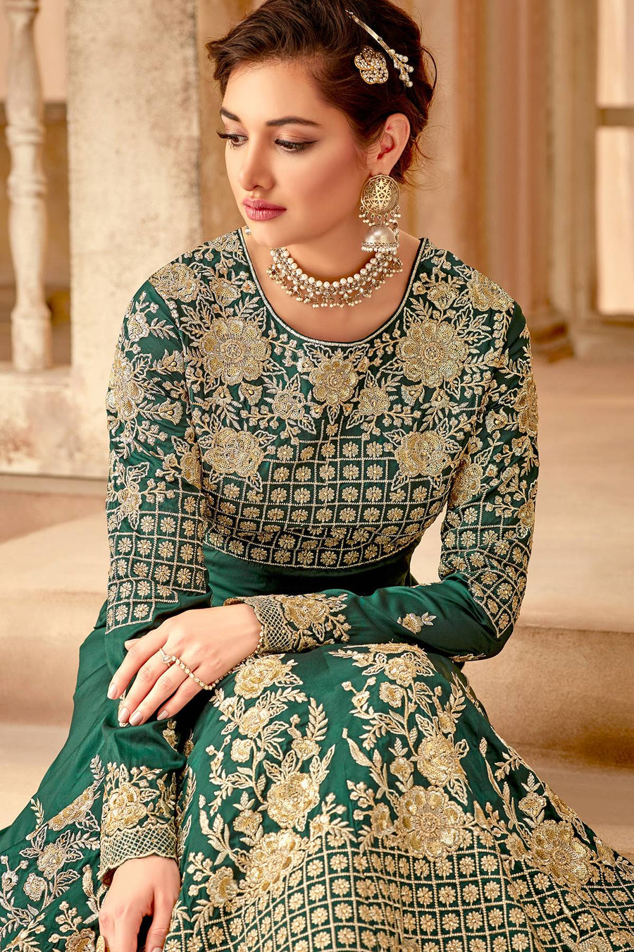 Rama Green Blue Designer Party Wear Anarkali Suit