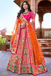 Rani and Orange Wedding Lehenga Choli Set