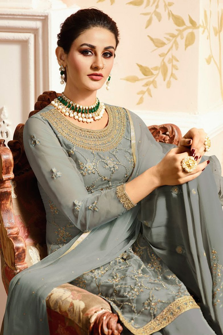 Slate Grey With Golden Touch Embroidered Gharara Suit