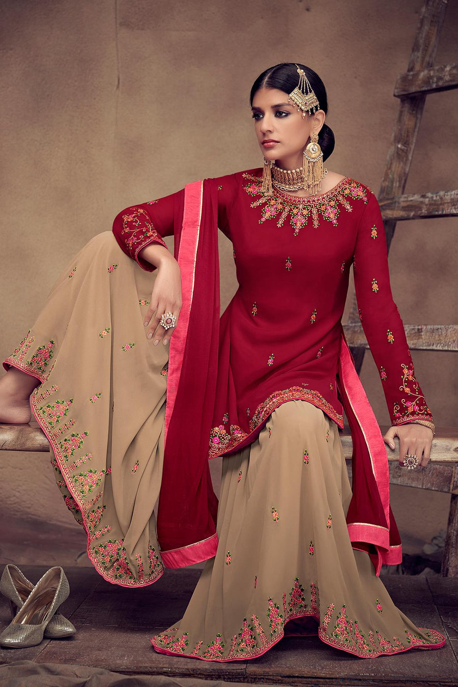 Red And Beige Designer Palazzo Suit