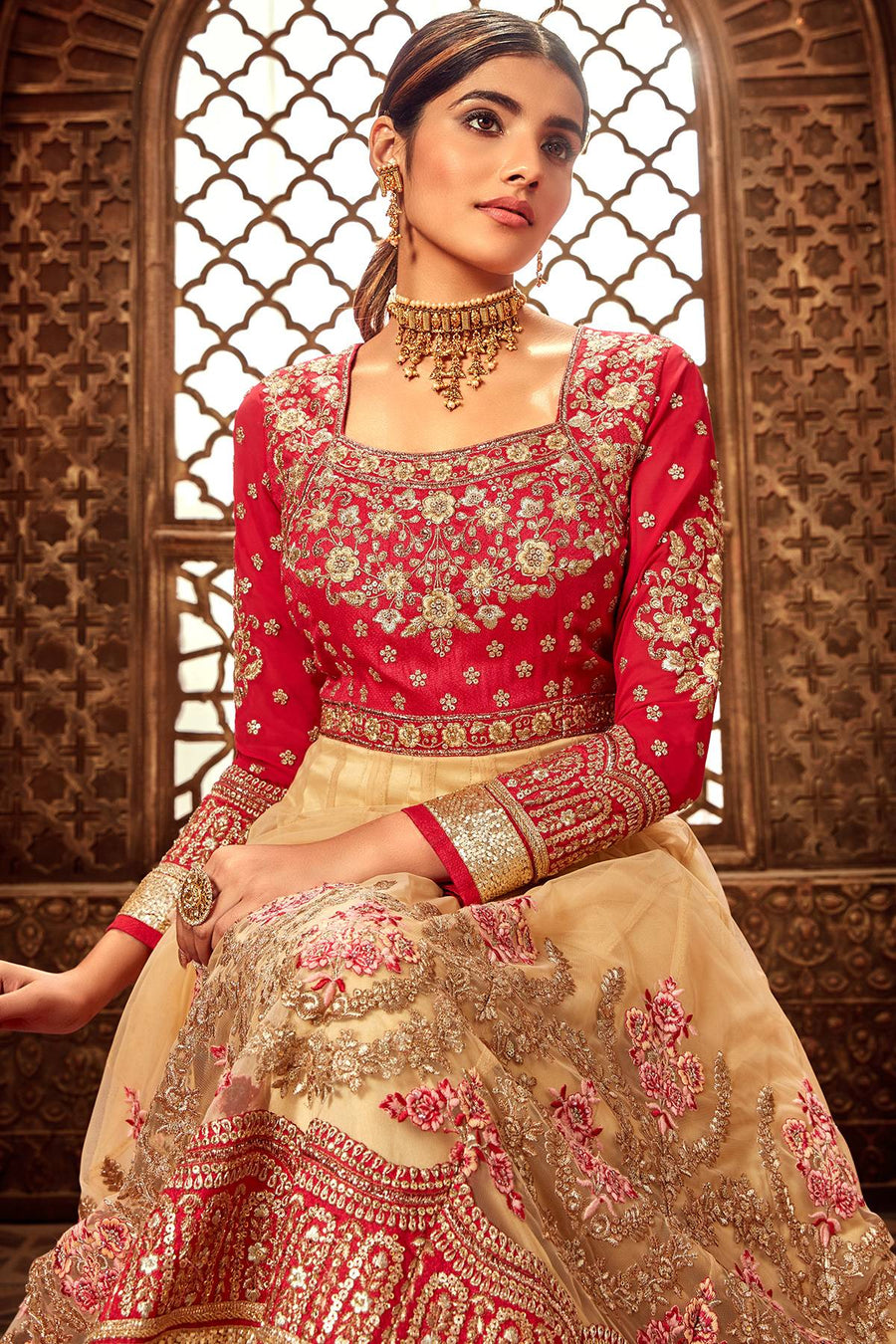 Red and Chiku Designer Silk Anarkali Suit