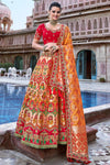 Red and Mustard Wedding Lehenga Choli Set