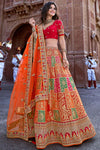 Red and Orange Wedding Lehenga Choli Set
