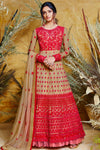 Red Designer Butterfly Net Anarkali Suit