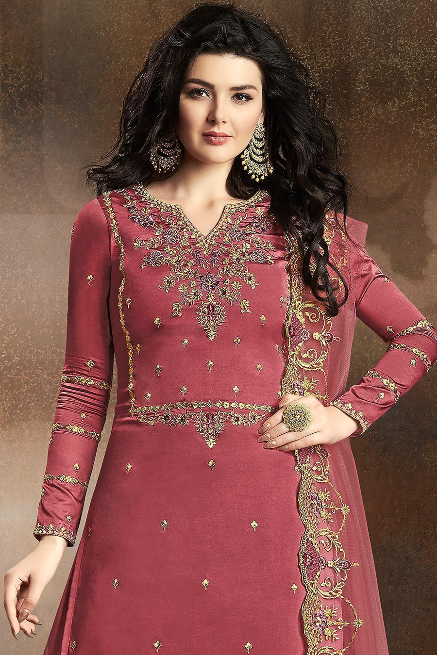 Rose Pink Designer Embroidered Silk Sharara Suit