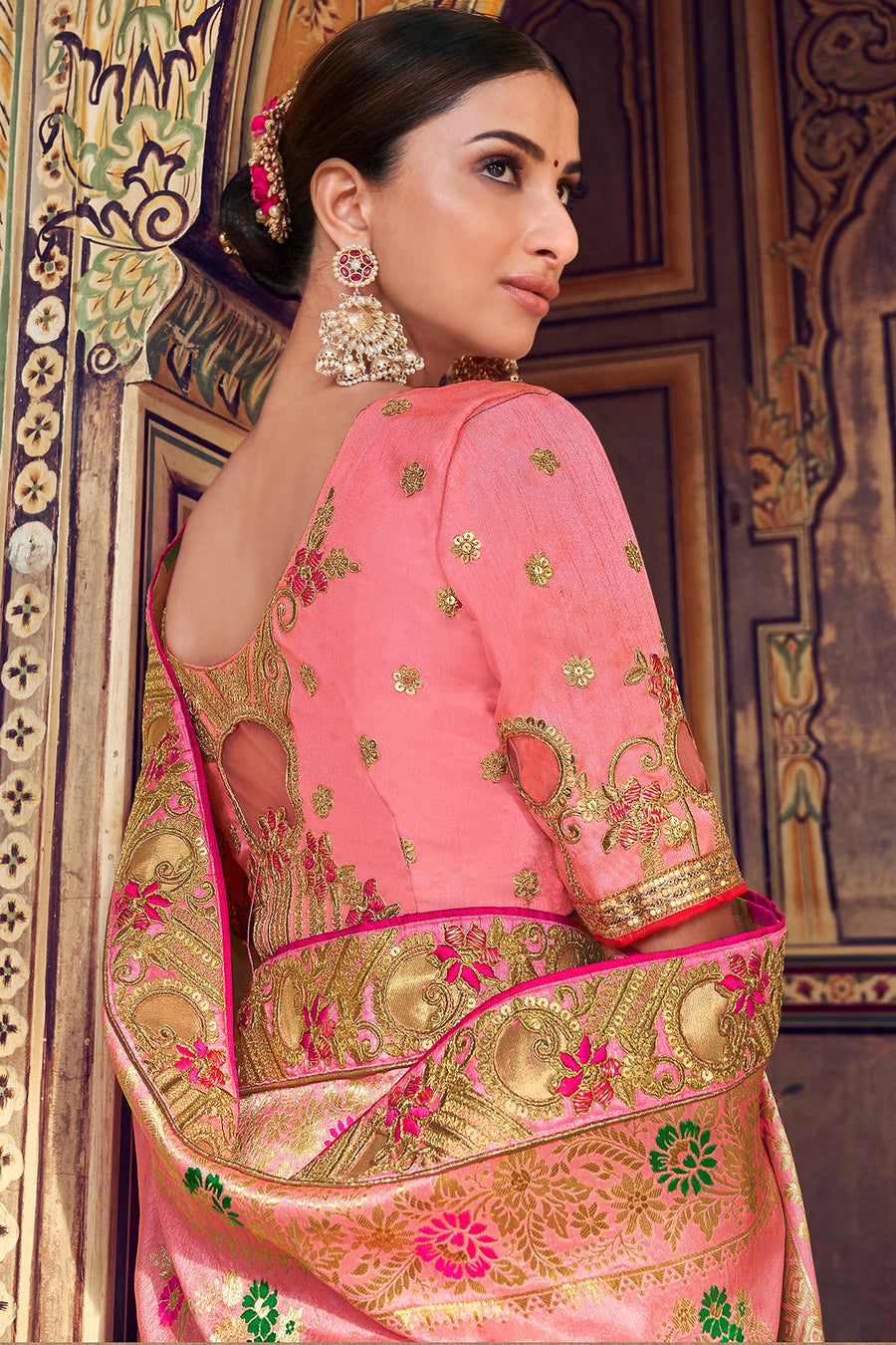 Rose Pink Designer Wedding Silk Sari