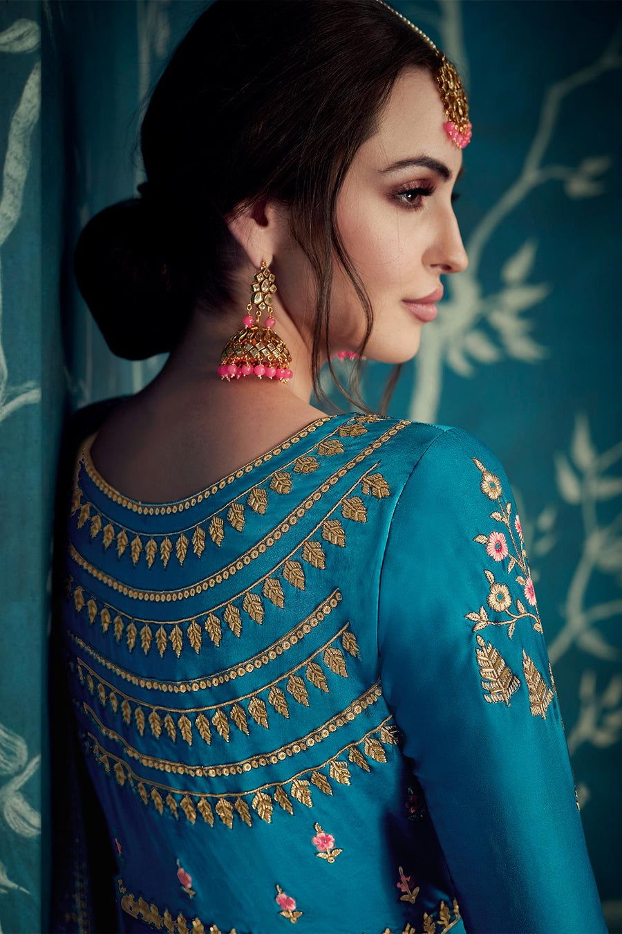Royal Blue Designer Satin Silk Anarkali Suit