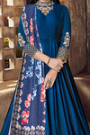 Mesmerising Blue Tafeta Silk Party Wear Anarkali Suit