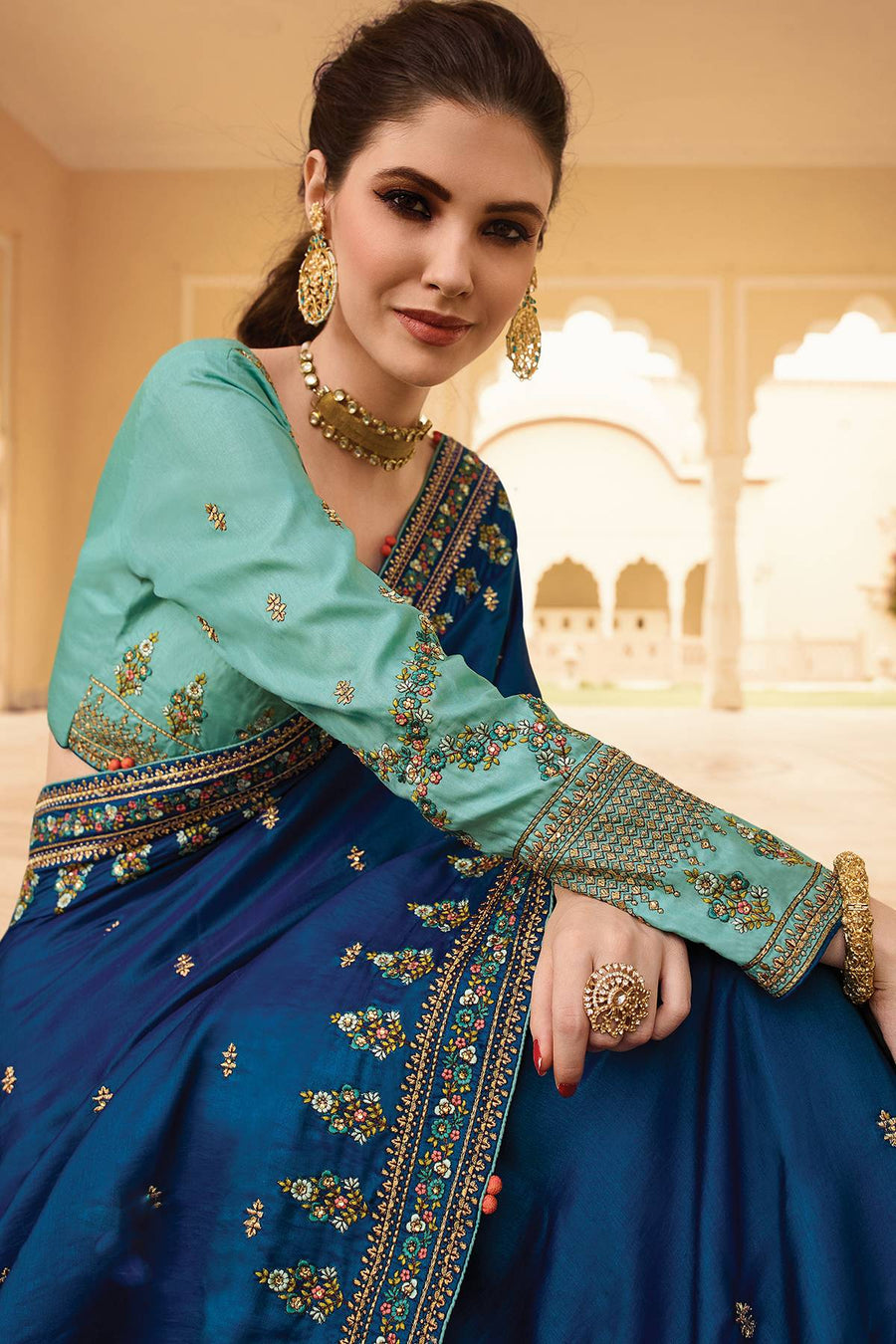 Shapphire and Sky Blue Designer Silk Sari