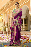 Mulberry-Violet colored Silk Saree with Mint-Green colored Blouse
