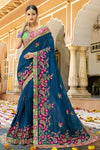 Teal-Blue colored Silk Saree with Mint-Green Blouse