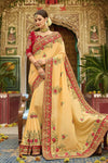 Mustard Colored Silk Saree with Maroon Blouse