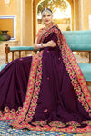 Wine Berry colored Silk Saree with Pink Blouse