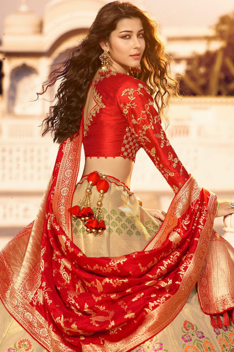 Silver Grey and Candy Red Silk Lehenga Choli