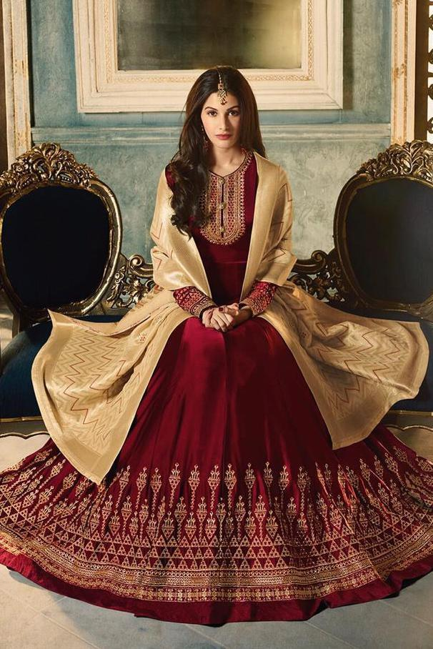 Maroon And Cream Motif Embroidered Ghera Party Wear Anarkali Suit