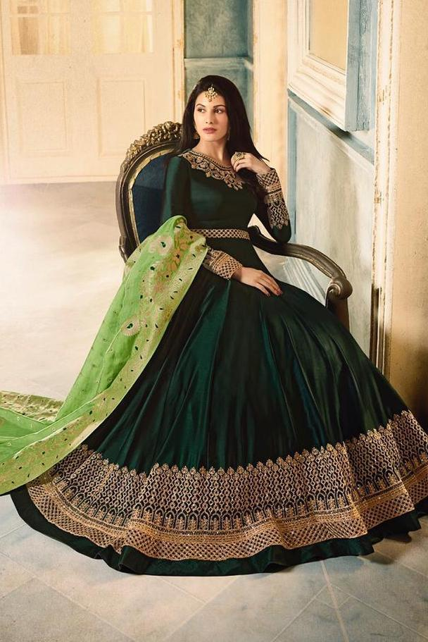 Green Dual Tone Motif Embroidered Ghera Party Wear Anarkali Suit