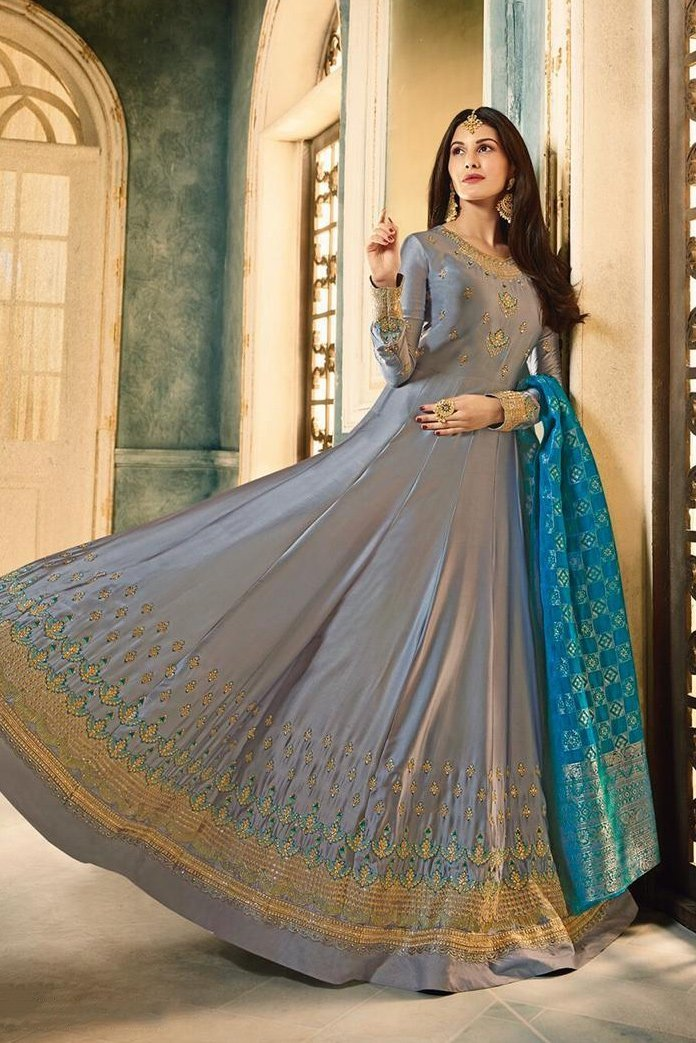 Slate Grey And Blue Motif Embroidered Ghera Party Wear Anarkali Suit