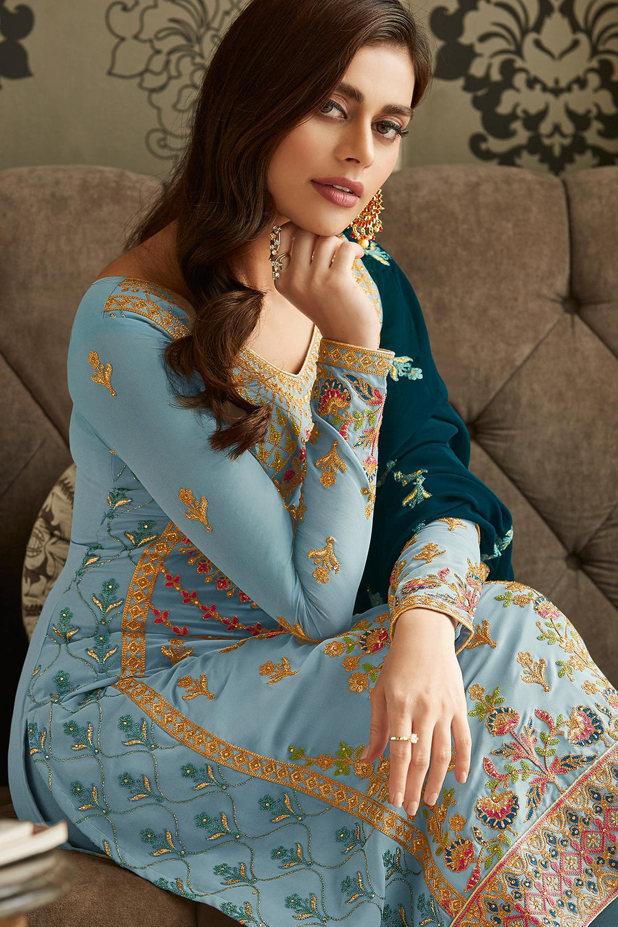 Sky Blue Designer Georgette Straight Suit