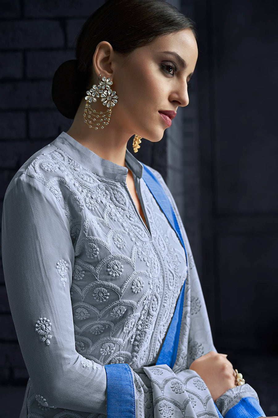 Sky Blue Georgette Lakhnavi Straight Suit