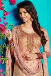 Brown Satin Printed Suit with Peach shade Dupatta