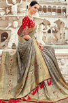 Grey and Candy Red Designer Silk Saree