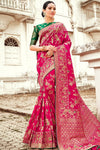 Magenta and Green Designer Silk Saree