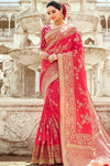Scarlet Red Designer Silk Saree