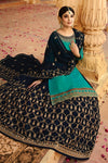 Teal and Blue Georgette Lehenga Style Suit