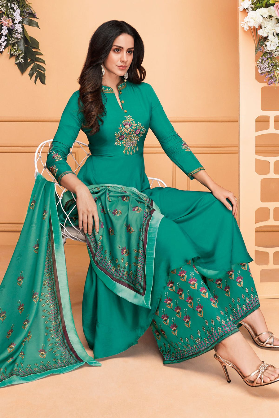 Teal Blue Maslin Designer Palazzo Suit