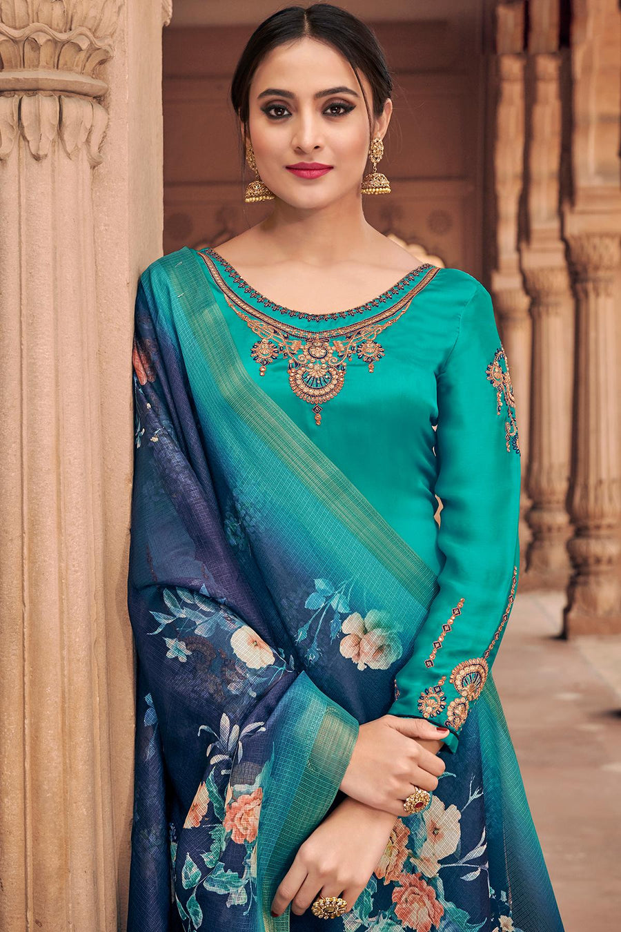 Teal Blue Traditional Party Wear Palazzo Suit