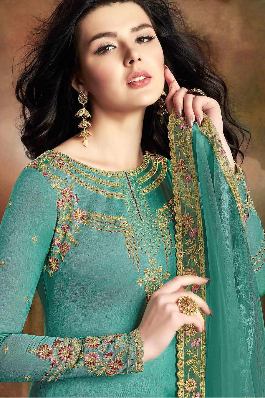 Teal Designer Embroidered Silk Sharara Suit