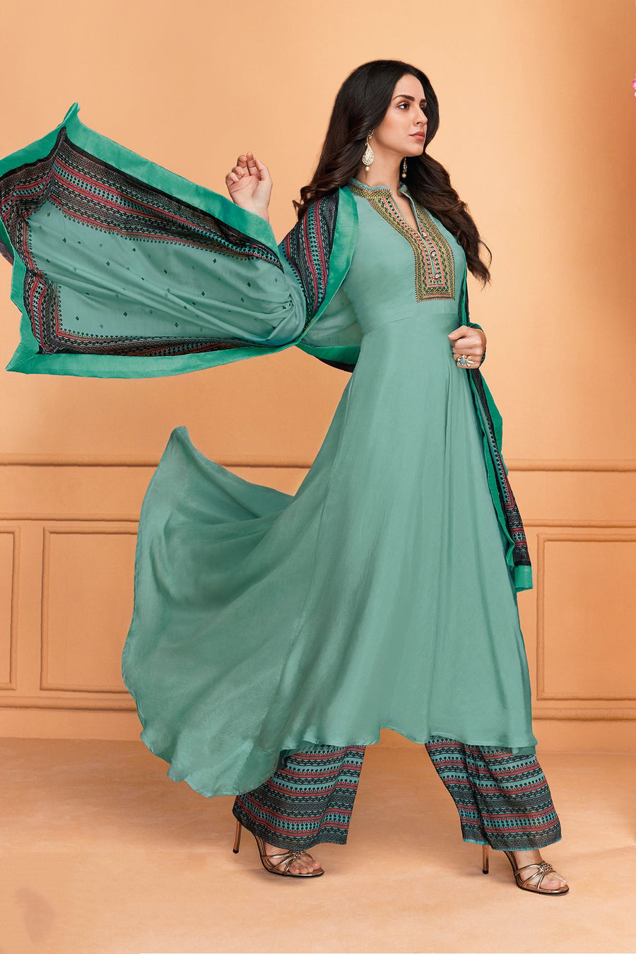 Teal Maslin Designer Palazzo Suit