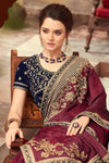 Maroon-Navy Blue Party Wear Embellished Saree