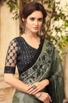 Gray and Mid-Night Black Party Wear Embellished Saree