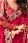Ruby-Pink Georgette Saree With Heavy Blouse