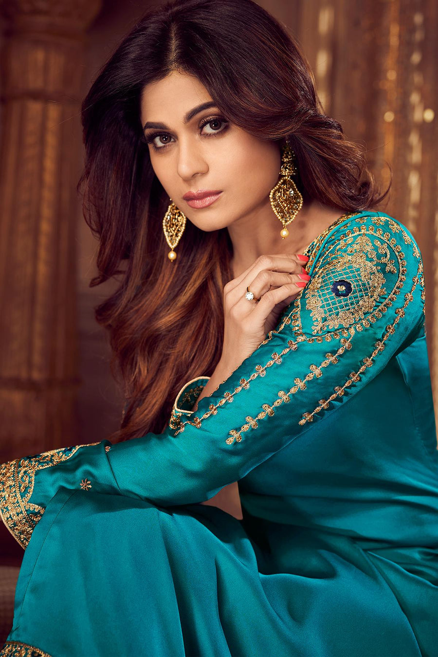 Turquoise And Navy Blue Sharara Suit