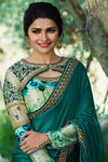Blue Chiffon Saree with Full Sleeved Blouse