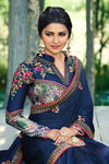 Navy-Blue Silk Saree Heavy Embroidered Blouse