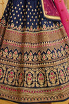 Navy-Blue sparkle silk heavy embroidered Lehenga Set