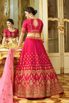 Hot-Pink sparkle silk heavy embroidered Lehenga Set